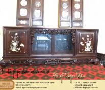 Tủ chè gỗ gụ khảm Cúc Kê